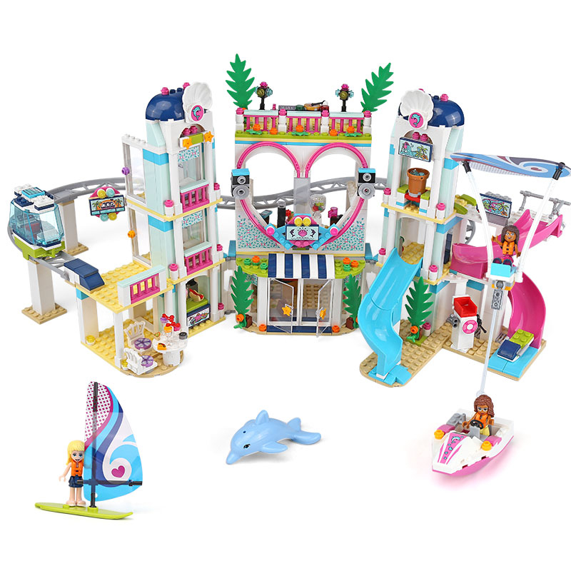 Friends 01068 Heartlake City Resort Water Amusement Park 1139Pcs Building Blocks Toys for Children Girls Legoings Friends 41347 aldeia das águas park resort day use