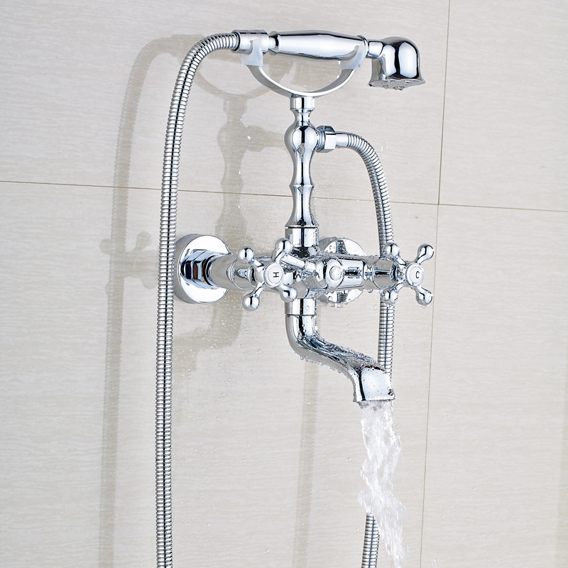 Wall Mounted Brass Bathtub Faucet Polished Chrome Dual Handles Swivel Spout Bath Tub Mixer Tap with