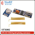 2pcs/lot  315Mhz/433MHz Superheterodyne Ask Wireless Module  STX882/ SRX882 with Gold Plating Springfor free shipping