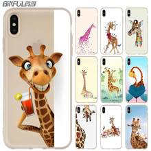 MLLSE Watercolor Giraffe Painting style Phone Case FOR iPhone11 Pro X XS Max XR For iPhone 5 5S SE 6S 6 4 4S 7 8 Plus 2020 zomgo chinese brush painting ceramic style aluminum back case for iphone 4 4s mouse