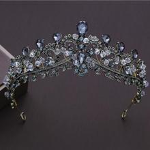 KMVEXO Baroque Black Wedding Tiara Headband Rhinestones Bridal Hair Accessories Vintage Crowns Bride Diadem Pageant Jewelry