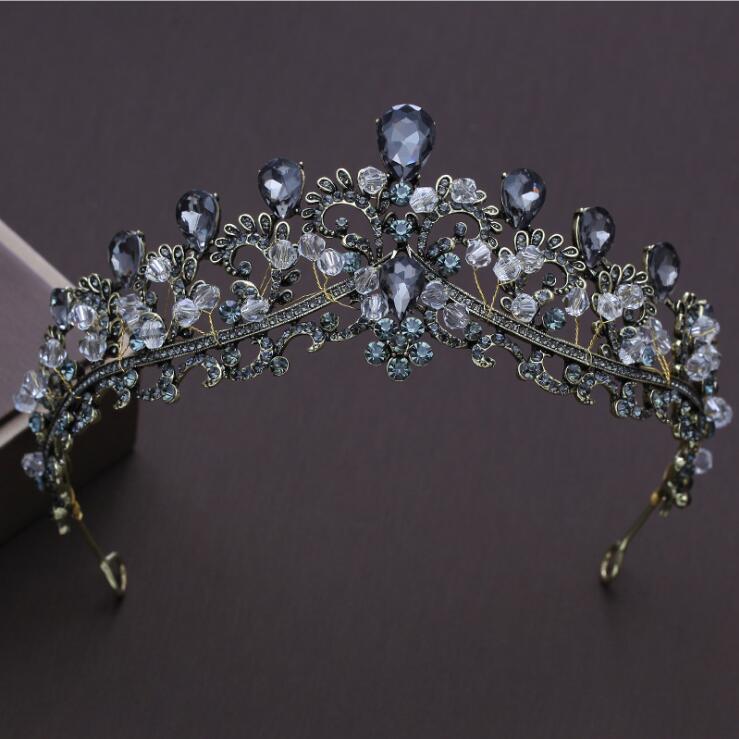 KMVEXO Baroque Black Wedding Tiara Headband Rhinestones Bridal Hair Accessories Vintage Crowns Bride Diadem Pageant Hair Jewelry