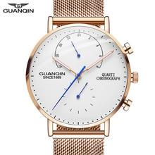 2019 ساعات رجالي GUANQIN أفضل ماركة فاخرة ساعة مضيئة رجال الأعمال الصلب الكامل الإبداعية كوارتز ساعة معصم Relogio Masculino
