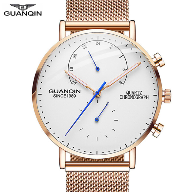 2019 Mens นาฬิกา GUANQIN Top Brand Luxury Luminous นาฬิกาผู้ชายธุรกิจเหล็กเต็มรูปแบบ Creative นาฬิกาข้อมือควอตซ์ Relogio Masculino