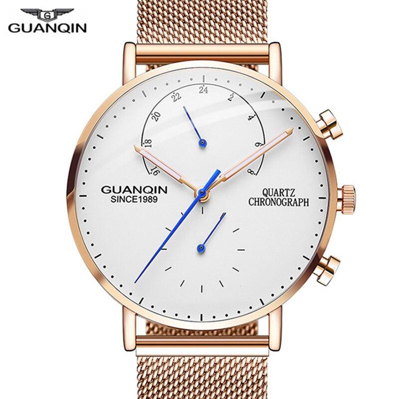 2019 Mens Watches GUANQIN Top Brand Luxury Luminous Clock Men Business Full Steel Creative Quartz Wrist Watch Relogio Masculino