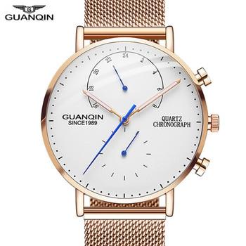 цена на 2019 Mens Watches GUANQIN Top Brand Luxury Luminous Clock Men Business Full Steel Creative Quartz Wrist Watch Relogio Masculino