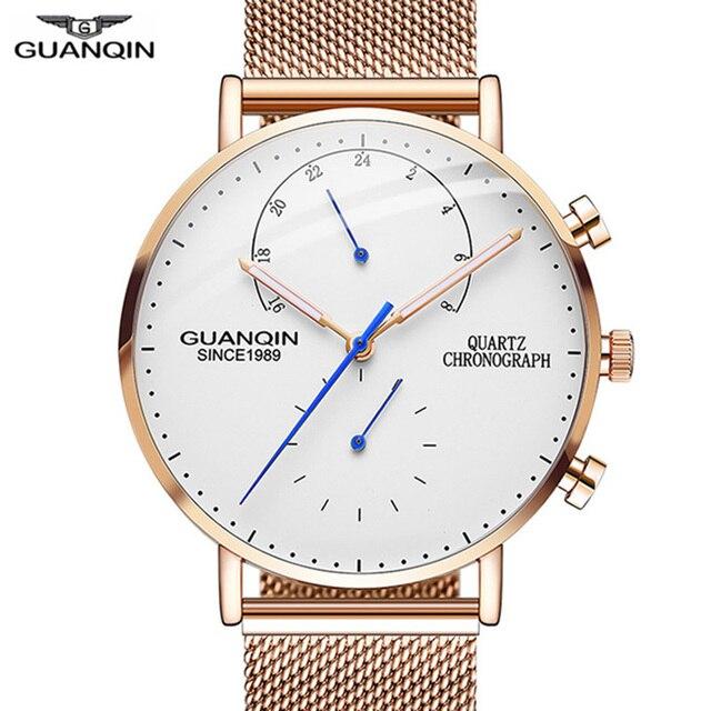 GUANQIN montre bracelet créative à Quartz pour hommes, marque de luxe, lumineuse, entièrement en acier, 2019