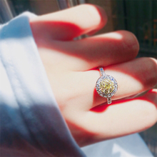 100% S925 Sliver Yellow Amethyst Diamond Ring Round Topaz Bizuteria Wedding Gemstone Sterling Silver Rings Women