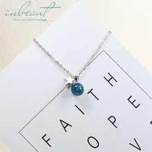 inbeaut 925 Silver Blue Pearl Star Pendant Necklace Female Korean Round Planet Universal Stars Beads for Women Jewelry