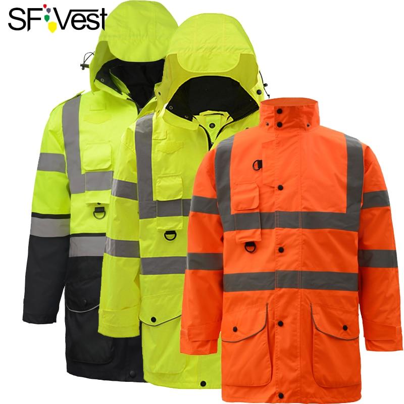 Hi vis waterproof neon yellow 7-in-1 reflective safety jacket neon yellow
