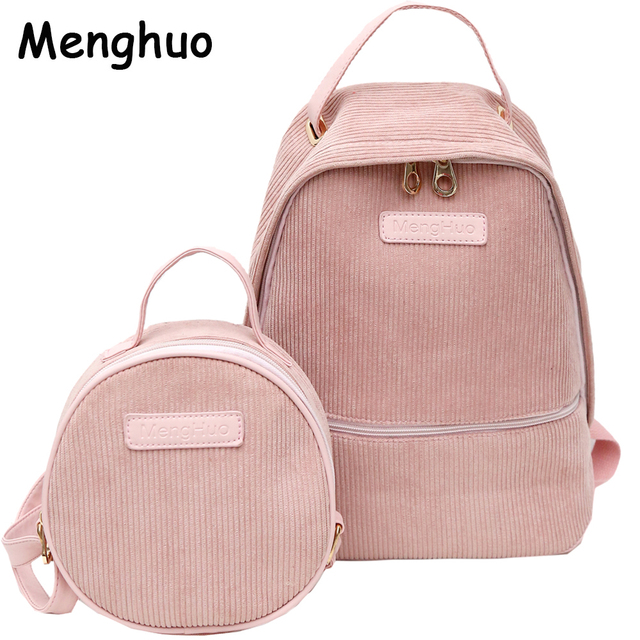 Menghuo 2pcs/Set Preppy Style Corduroy Backpack Women Backpack for Teenager Girls New Student Book Bag Striped Backpacks Mochila