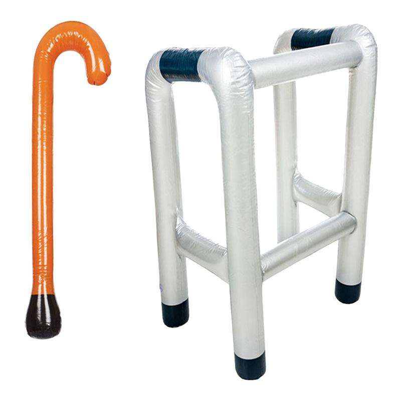 Inflatable Zimmer Frame /& Walking Stick Blow Up Toy Novelty Dress Up Accessory