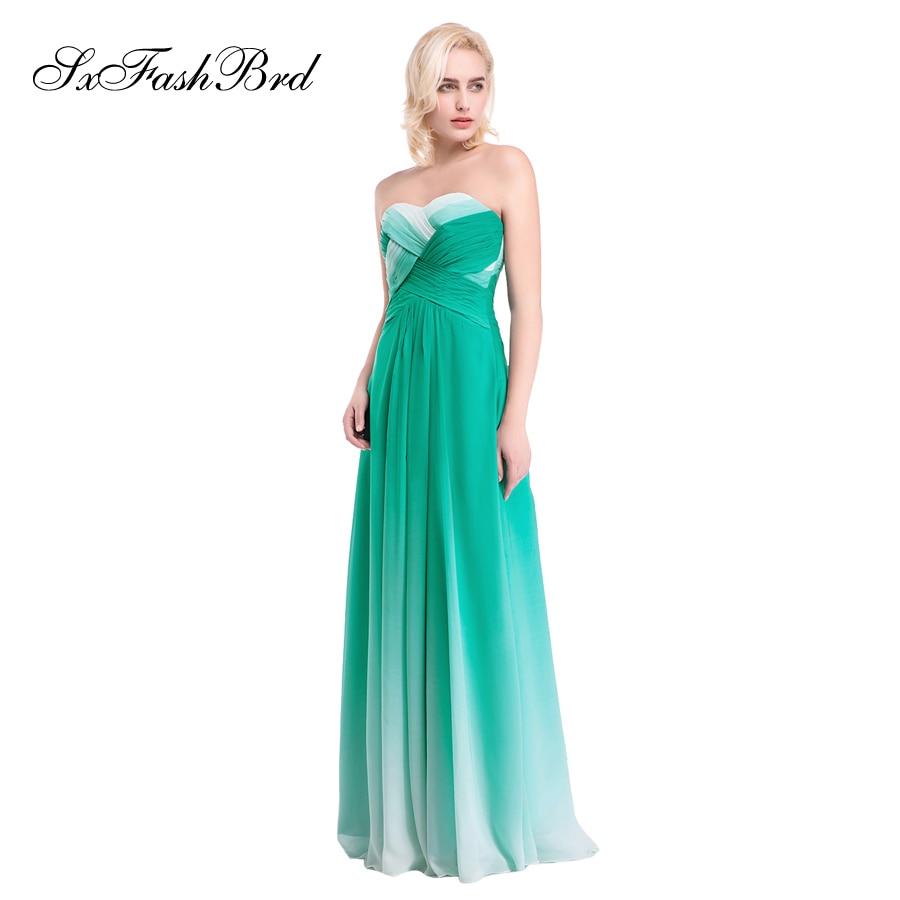 Vestido De Festa Sweetheart En Linje Sommer Flerfarvet Chiffon Lang - Særlige occasion kjoler - Foto 2
