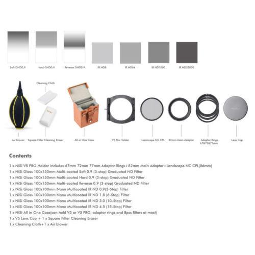 Filtros NiSi 100mm Kit Profissional de Segunda Geração II V5 Pro + 100*100mm ND8 + 64 + 1000 + 32000 + 100*150mm S-GND8 + H-GND8 + R-GND8