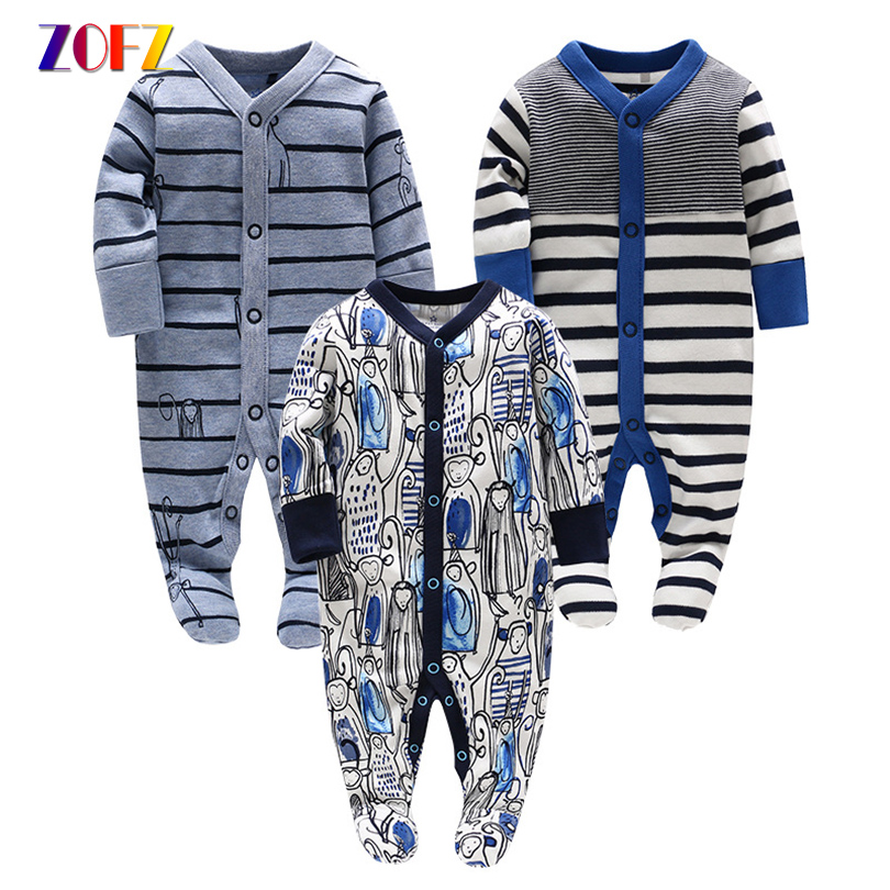 ZOFZ Newborn Baby Boy Clothes Cotton Romper Stiped Long Sleeve jumpsuit Cute monkey comfortable clothing for new born babies zofz baby girls clothing newborn baby boy girl clothes long sleeve cartoon printed jumpsuit baby romper for baby boy clothing