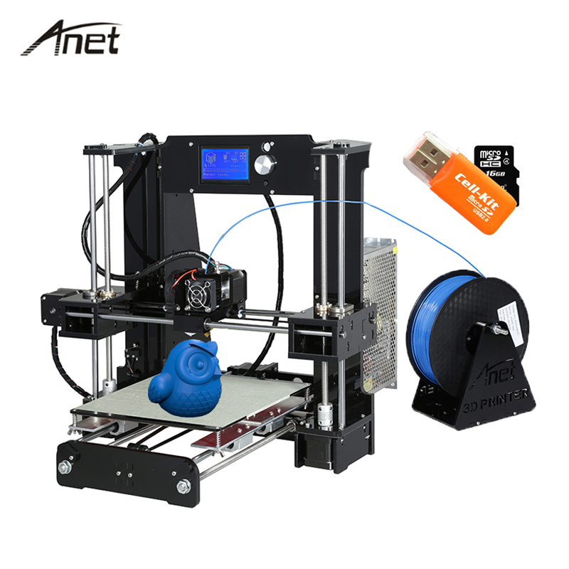Newest Anet A6 3D Printer High Precision Reprap Prusa i3 Offline DIY Printer kit  with Aluminum 10m Filament+16GB Card+Tools anet a2 high precision desktop plus 3d printer lcd screen aluminum alloy frame reprap prusa i3 with 8gb sd card 3d diy printing
