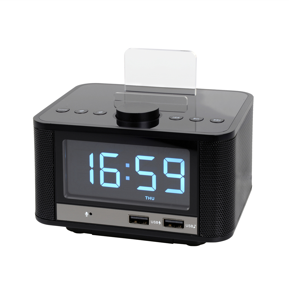 EXRIZU 10W Bluetooth 4.2 Smart Clock Speaker Support FM Digital Radio Hands free U Disk TF Card Music Play 3.5inch Screen Snooze - 5