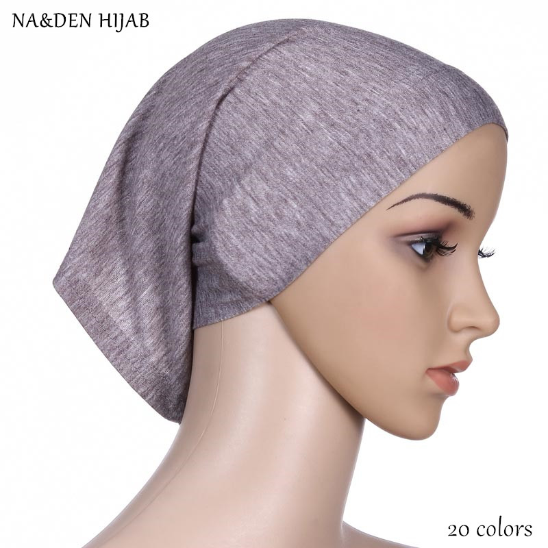 Brave High Quality Women Mercerized Cotton Tube Cap Hijabs Plain Solid Caps Elastic Material Fashion Inner Hijab Breathable 20colors Profit Small Apparel Accessories