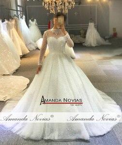 Image 5 - 2019 vestito da cerimonia nuziale pieno di perle di lusso della principessa abito da sposa reale di lavoro 100% di alta qualità