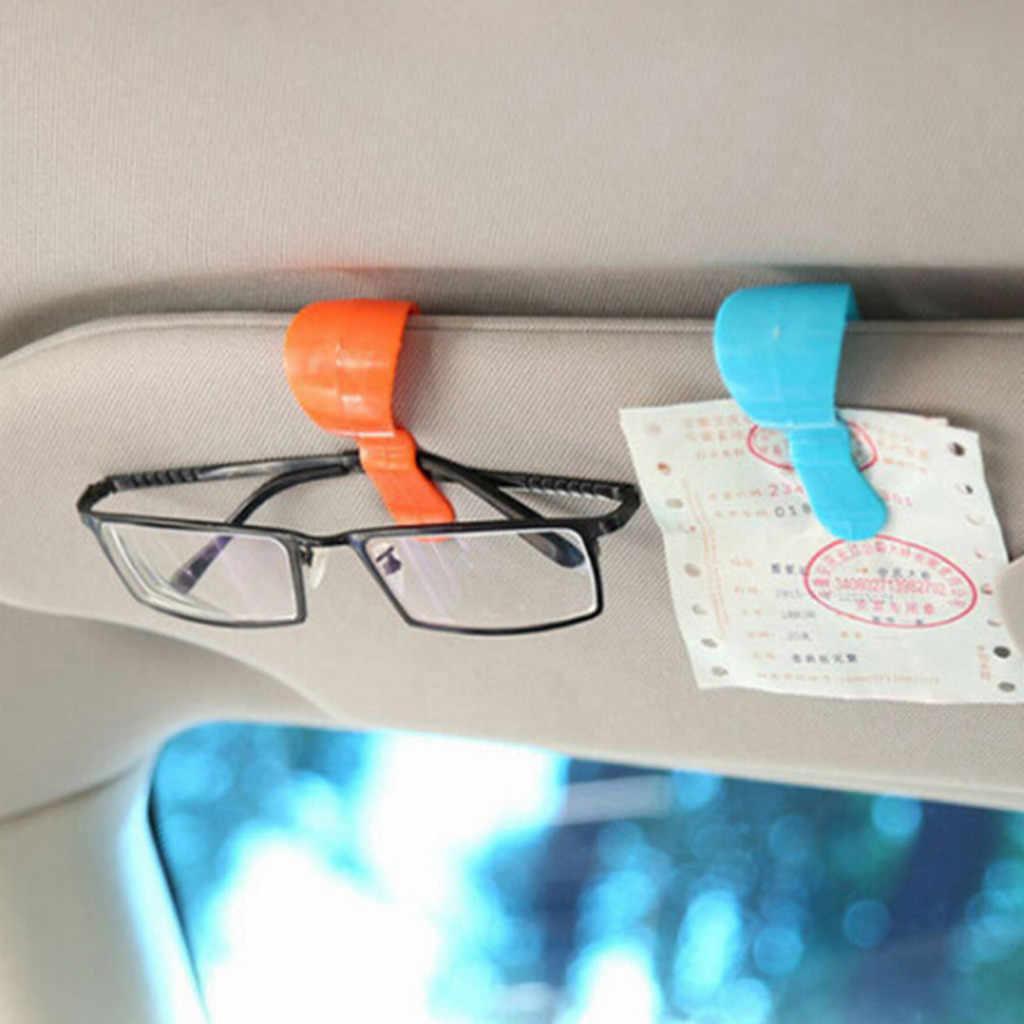 2pc przenośny klamra do samochodu Cip samochodu klips do okularów klamra na karty i okulary ABS pokrowce na fotele samochodowe czarny osłona przeciwsłoneczna do samochodu uchwyt na okulary przeciwsłoneczne