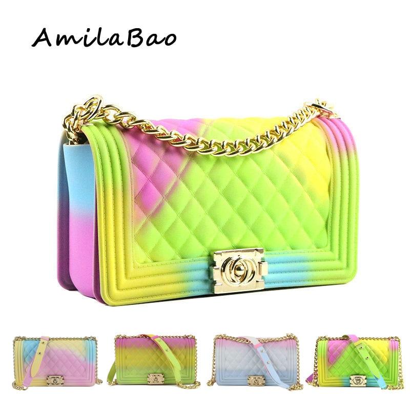 Bandoulière sacs pour femmes 2018 sucrerie D'été de couleur de luxe sacs PVC Silicone gelée sacoches à bandoulière Chaînes fille ME849
