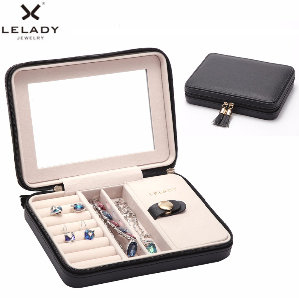 LELADY 17*4*12cm Small Jewelry Box Portable Travel Organizer Jewelry Box With Mirror Leather Jewelry Storage Case Jewellry Box