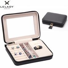 LELADY joyero pequeño portátil de 17x4x12cm, organizador de viaje con espejo, caja de almacenamiento de joyas de cuero, caja de joyería