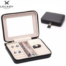 LELADY petite boîte à bijoux en cuir mallette de rangement, organisateur de voyage Portable avec miroir, 17*4*12cm