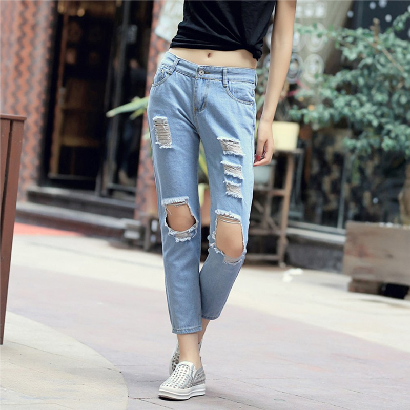 Autumn New Fashion Cotton Jeans Women Loose High Waist Washed Vintage Big Hole Ripped Long Denim Pencil Pants Casual Trousers fashion brand women jeans high waisted denim jeans ripped trousers washed vintage big hole ankle length skinny vaqueros mujer