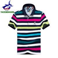 2017 mode zomer merk kleding Tace & Shark polo mannen korte mouw katoen gestreepte shark man polo overhemd