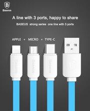 Baseus 3 в 1 USB Кабель Для Samsung Xiaomi Huawei 8 pin Micro USB Тип C Данных Зарядный Кабель Для iPhone Кабель Мобильного Телефона кабель