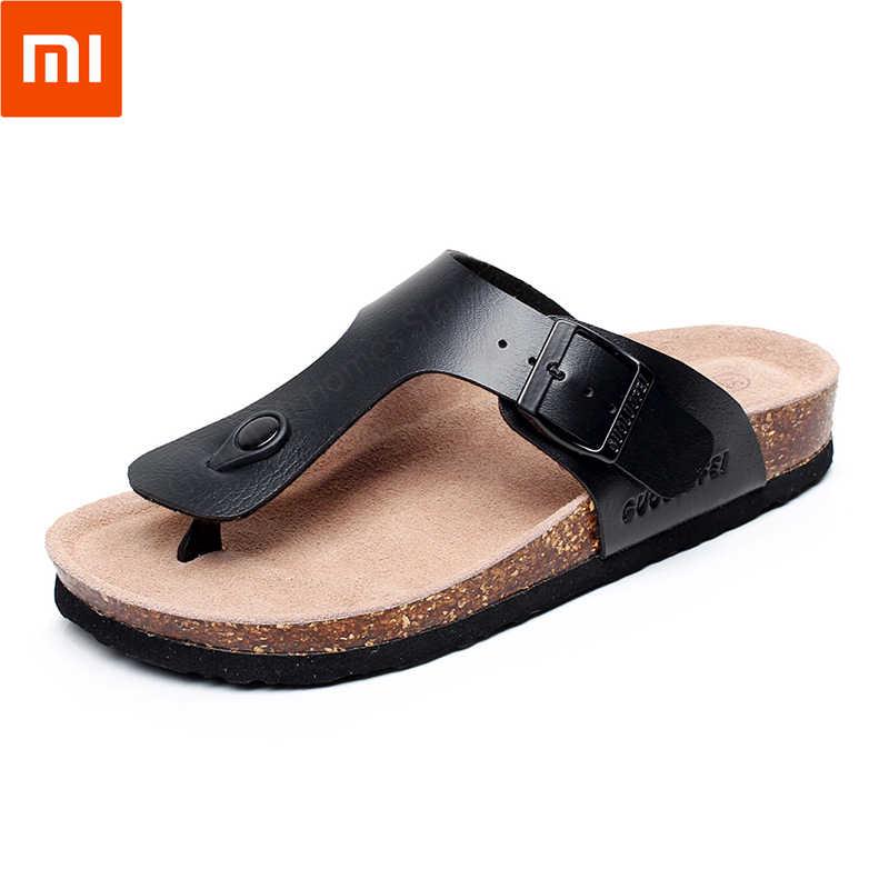 Xiaomi youpin Guoluofei homens Clássico pitada de cortiça arrastar Chinelos Confortáveis Anti-slip da Areia da Praia de Areia Brilhante Sandálias de Salto Plana