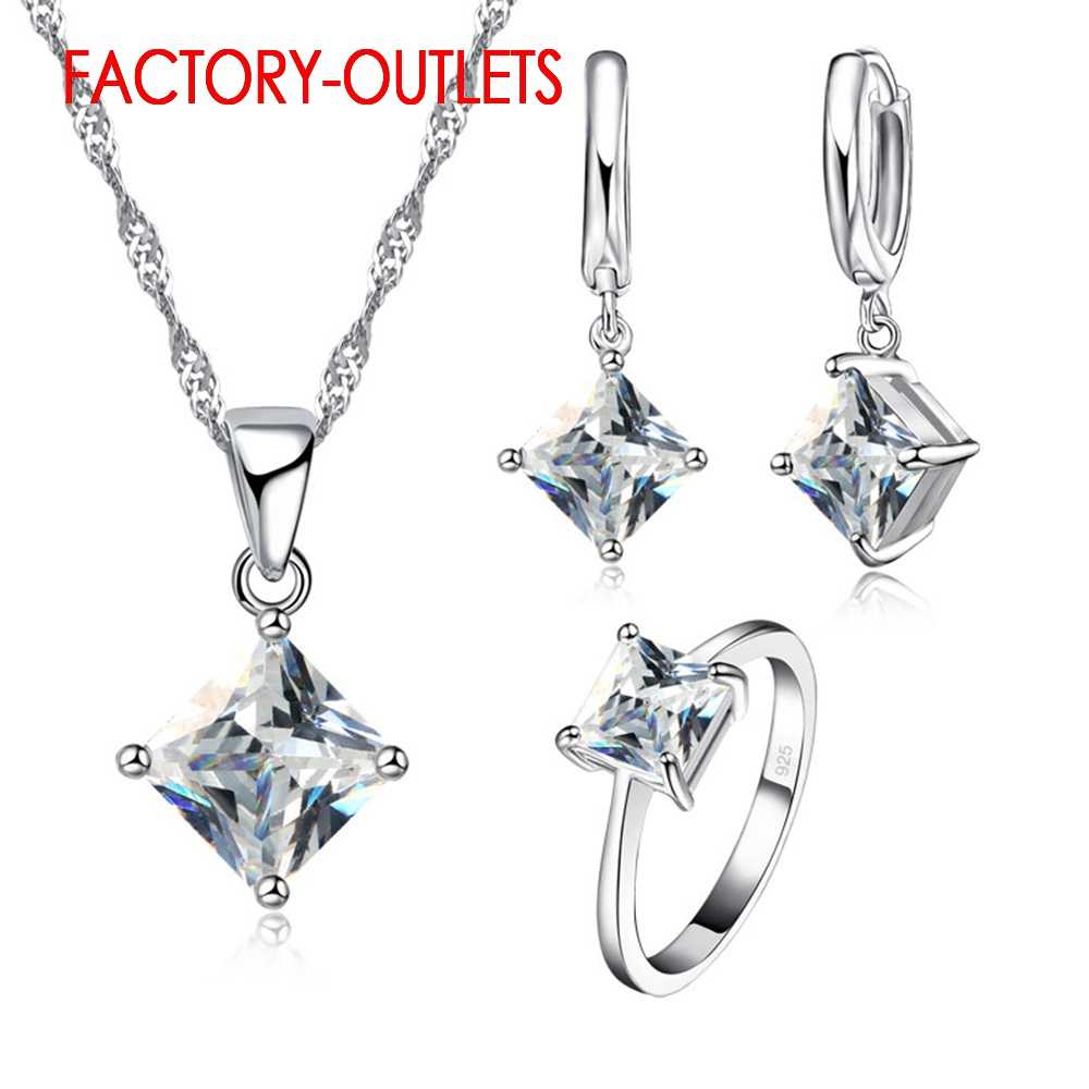925 Sterling Silver Fashion Jewelry Set Classic 4 Claws Square Crystal Necklaces Earrings Women Girls Engagement Anniversary