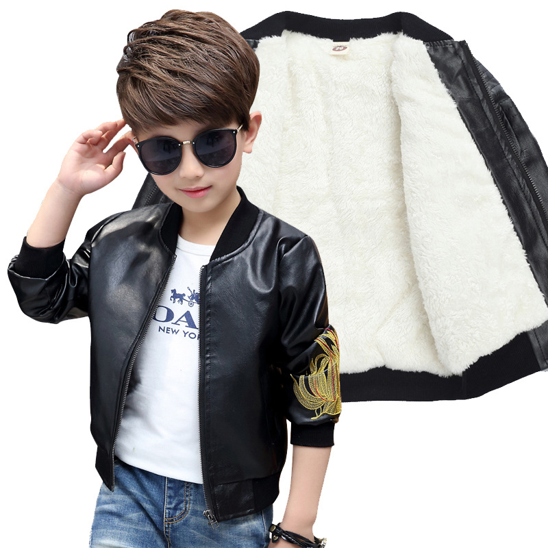 Brand Fashion Winter Child Coat Waterproof Embroidery Baby Boys Leather Jackets Children Outfits For Age 3-14 Years Old