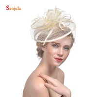 Linen Bridal Hats with Feathers Wedding Hat Face Veil Bride Hair Accessories Women's Fascinators tocados de fiesta H01