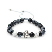 Fashion High Quality Snowflake Stone Bead Bracelet Weave Braided Silver Lion Head Charm Brand Macrame Mens Jewelry