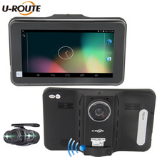 """16 GB Android 4.4 Wifi Del Coche Del Vehículo DVR Cámara de Navegación GPS Detector de Radar DashCam cámara Dual de 7 """"pantalla Hd1080p FM"""