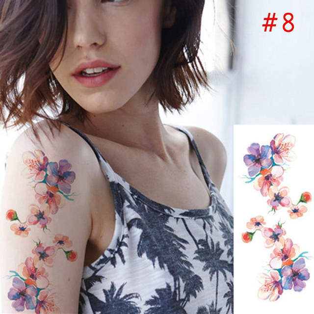 2Pcs Women Temporary Tattoos Disposable Temporary Tattoo Stickers for Body Art Flower Tattoos Arm Waist Bracelet Stickers Beauty