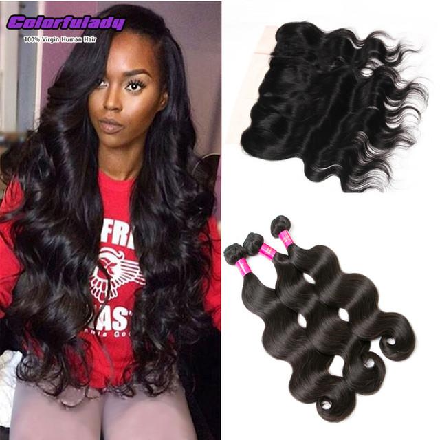 Orelha a orelha cabelo onda do corpo cheia do laço frontal com 3 feixes goode mulheres 100% cabelo virgem cabelo humano peruano com cheia do laço frente