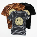 Sequined Smiley Face Women's shirts 2017 Spring New Summer Style Causal Solid Blouses Velour Shirts Short Sleeve Women Clothing