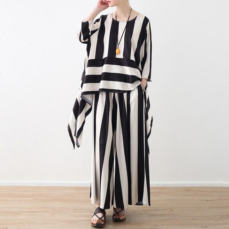 Femmes À Longues Élastique Lâche D'été Jambe Plat Occasionnels Complet Haute Large Rayé Taille Mode Pantalon Black P4RXqxP5w