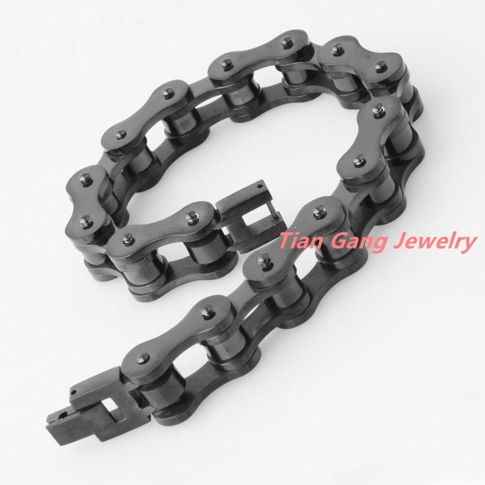 8.26*12mm 76g New Design 316L Stainless Steel Black Tone Bike Bicycle Motorcycle Chain Men Women Bracelet Bangle Xmas Gift
