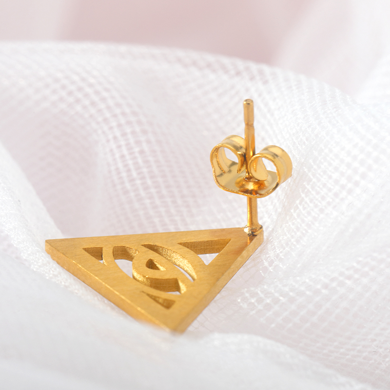 Vintage Geometric Triangle With Eyes Stud Earrings Jewelry Exaggerated Metal Eye Earrings Fashion Personality Triangle Earrings in Stud Earrings from Jewelry Accessories