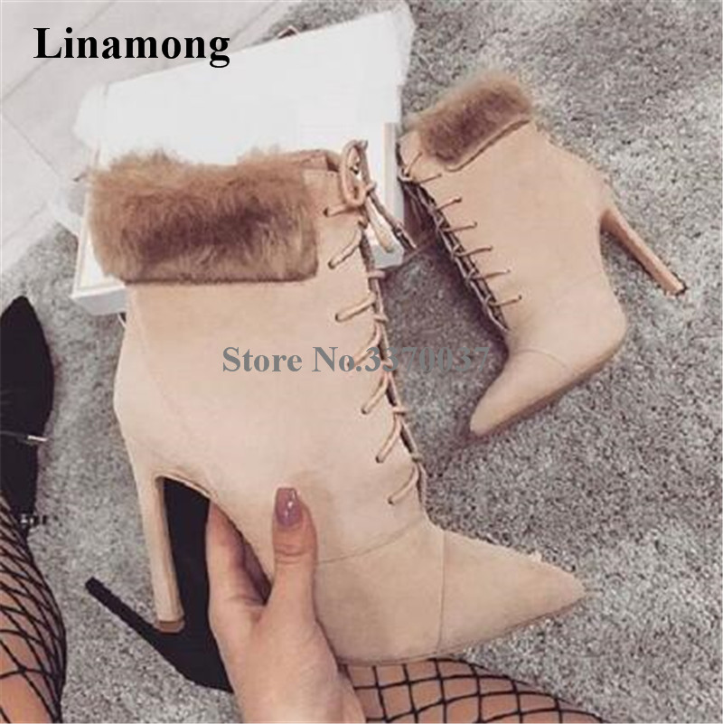 Women Winter Fashion Pointed Toe Suede Leather Ankle Fur Wrap Short Boots Lace-up Beige Black Thin Heel Ankle Boots Party Shoes apoepo new arrival suede leather high heel ankle boots pointed toe fringe ankle wrap women bootie size 35 to 41 party dress shoe