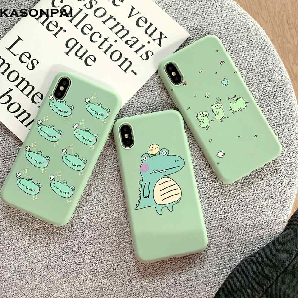 Cute Cartoon Dinosaur Patterned TPU Silicone Frosted Matte Soft Case Fundas Capas Cover For iPhone 8 7 6 6S Plus X XS XR XS Max