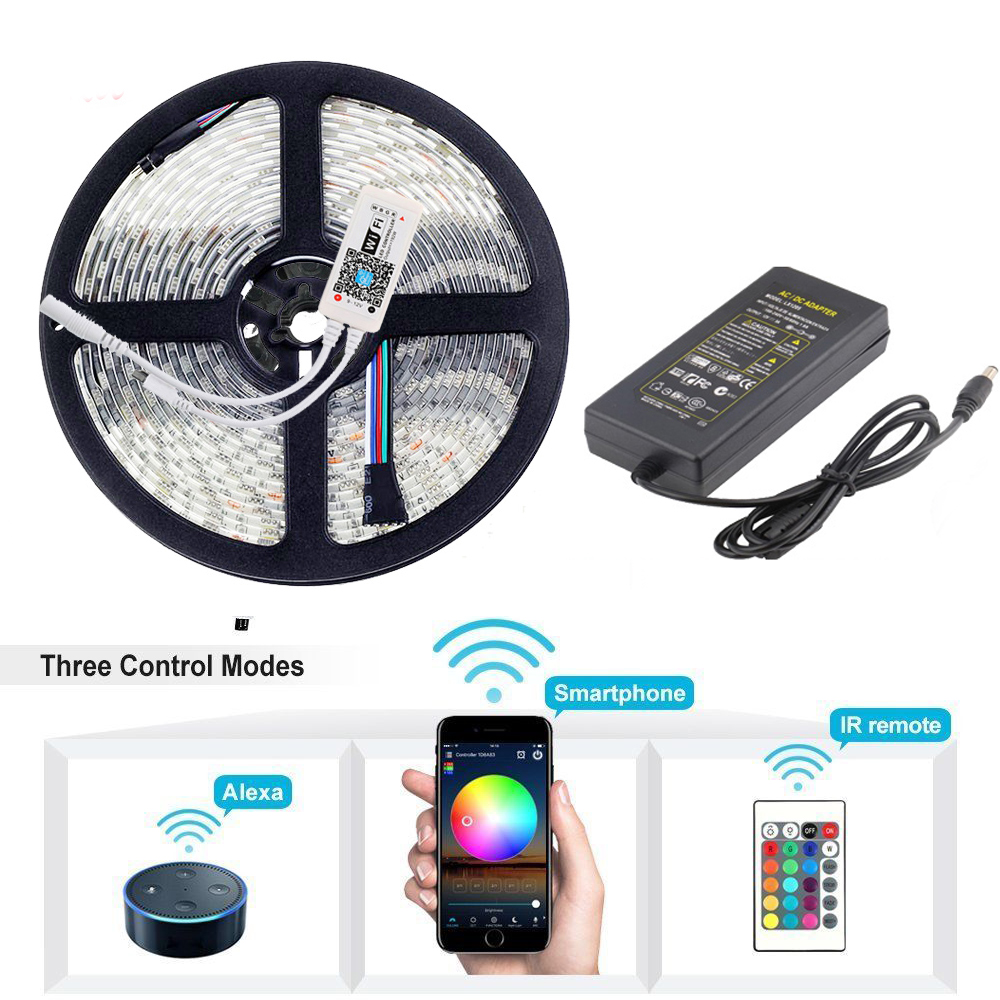 Magia Wifi 5 m 10 m 24 v Luce di Striscia del LED 5050 SMD 60 Leds/m RGB impermeabile di natale nastro di luce lampada iOS Android APP remote power