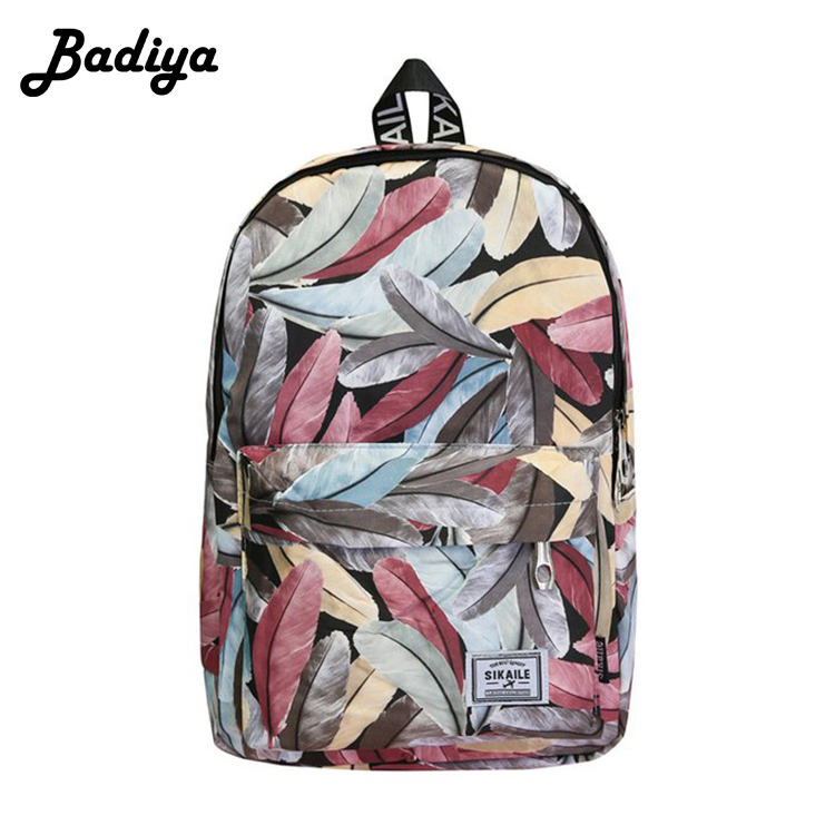 Fashion Leaf Printing Women Backapck Adjusted Strap Large Capacity Canvas Schoolbag -9693