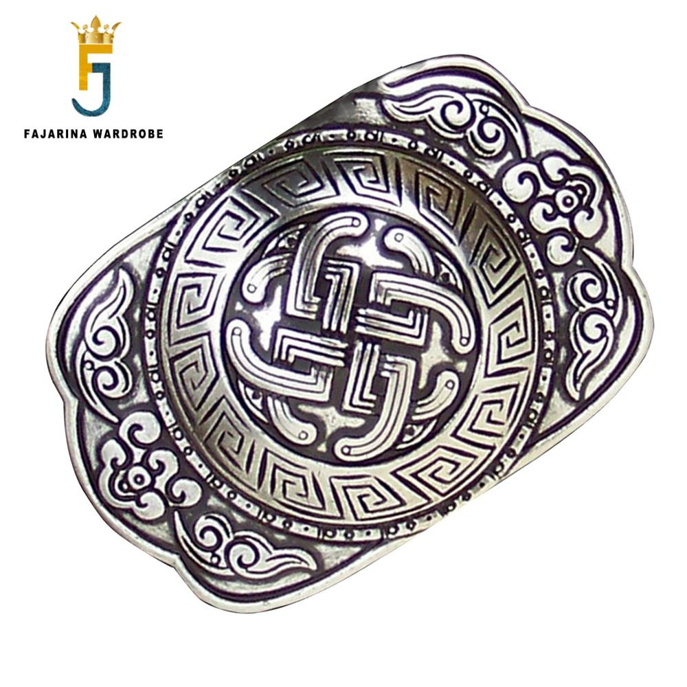 FAJARINA Europe Palace Retro Style Belt Buckle Fashion Plate With Silvery Slide Buckles For 3.6-4.0cm Width Smooth Belt BCK013