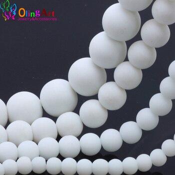 OlingArt المطاط الزجاج الخرز 6 مللي متر/8 مللي متر/10 مللي متر/14 مللي متر ماتي اللون الأبيض الخرز DIY بها بنفسك صنع المجوهرات سوار/قلادة
