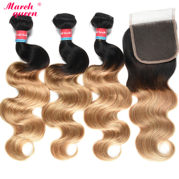 March Queen Malaysian Body Wave Hair 3 Bundles T1B/27 Ombre Human Hair Weave With 4x4 Lace Closure Black To Honey Blonde Weft